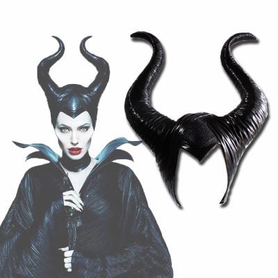 Black Masquerade Leather Mask Long Horns Halloween Devil Costume Cosplay UNISEX
