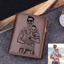 Carteiras gravadas para homens ultra-fino jovem curto carteira de couro do plutônio moda personalizado foto gravura do dia dos pais presente carteira