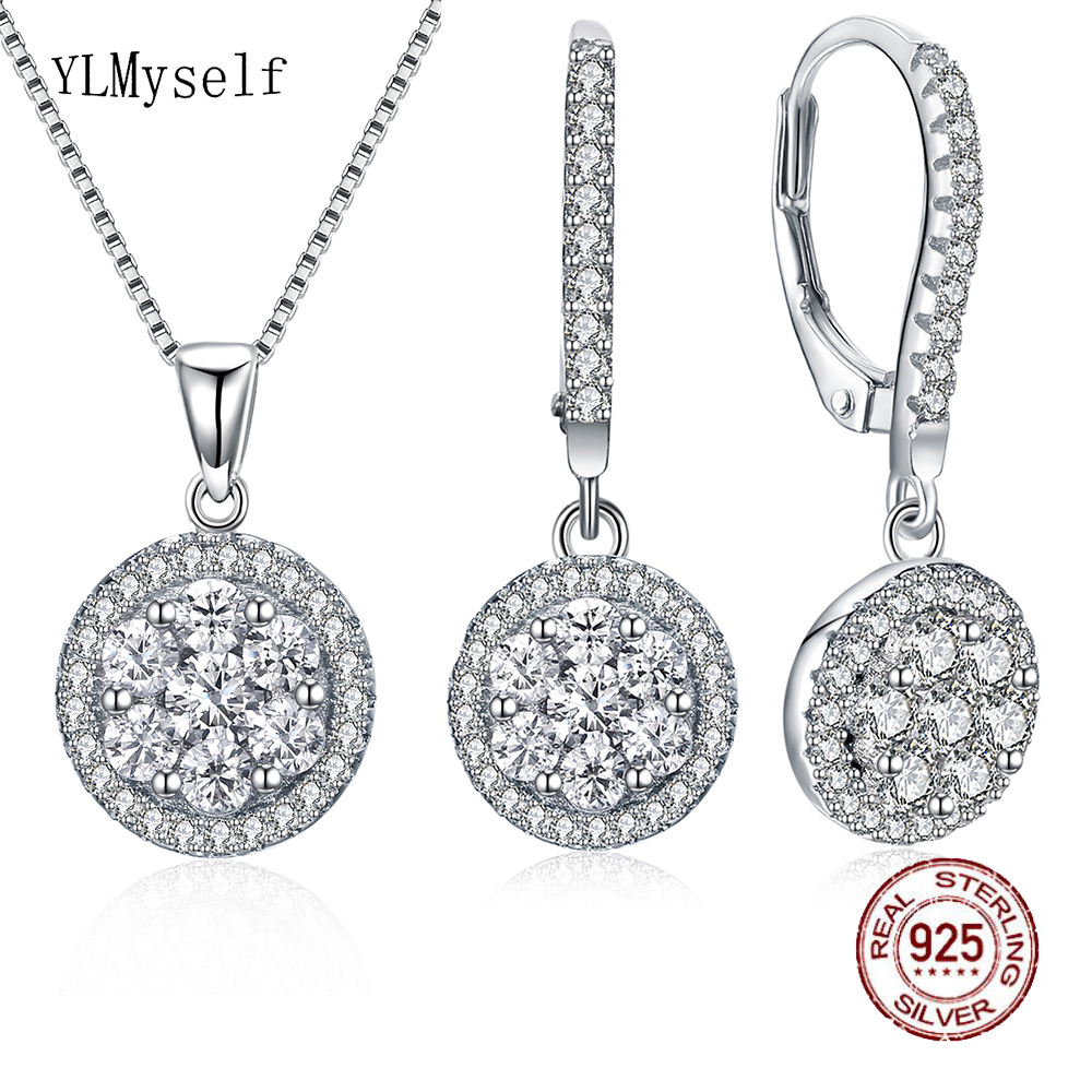 New Real 925 Sterling Silver Necklace Earrings Fine Jewelry set Round Pretty Suspension 2 PCS Jewellery sets for women