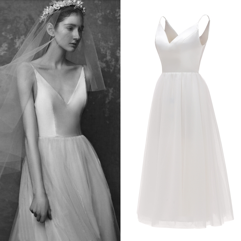 Simple Satin Tulle Bridal Gown Bridesmaid Wedding Party Dress Cheap Factory Price Real Photo
