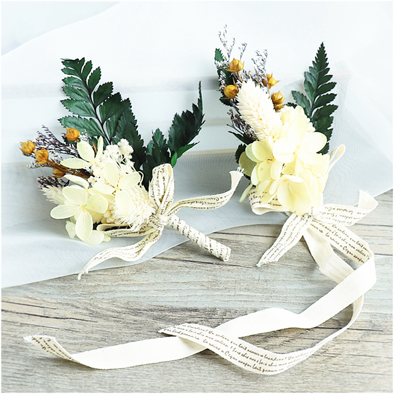 Wedding Bridal Wrist Flower For Bridesmaids Jewelry Groom Corsage Set For Men Fake Artificial Dried Silk Flower Evening Party