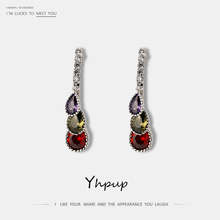Yhpup Trendy Vintage Colorful Zircon Stud Earrings Luxury Exquisite pendientes Statement boucle doreille femme 2019