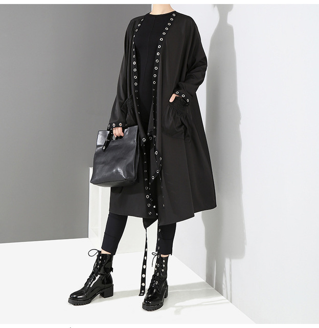 [EAM] Loose Fit Black Hollow Out Ribbon Pleated Big Size Jacket New V-collar Long Sleeve Women Coat Fashion Spring 2021 1D756 5