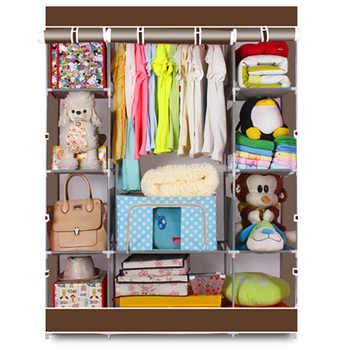 4-Layer 10 Portable Closet Lattices Non-Woven Fabric Wardrobe Coffee Clothes Rack Storage Organizer with Shelf - DISCOUNT ITEM  20 OFF Furniture