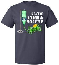 Em caso de acidente meu tipo de sangue é sprite t camisa masculina mulher até 5xl camiseta de algodão humorístico