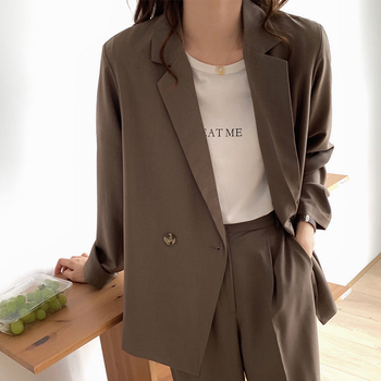 Single Breasted Blazers Women Autumn Winter Notched Full Sleeve Camel Coats Office Ladies Casual Loose Button Blazer Outwear women notched flare sleeve plaid print blazer short casual basic work single button office business blazer outwear british style