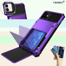 Dla iPhone 11 12 Pro Max Mini X XS XRCase z kartą portfela ukryta karta kredytowa pokrywa dla iPhone 11 12 Pro Max 12Pro 12 Mini etui