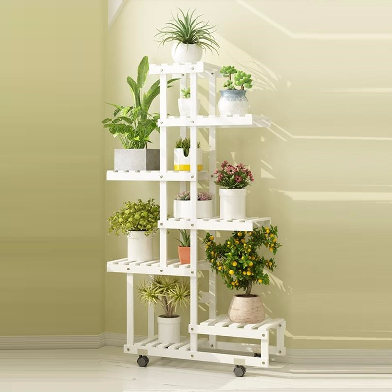 Wooden Shelves For Indoor Para Plantas Escalera Living Room Estanteria Jardin Balcony Plant Rack Shelf Outdoor Flower Stand