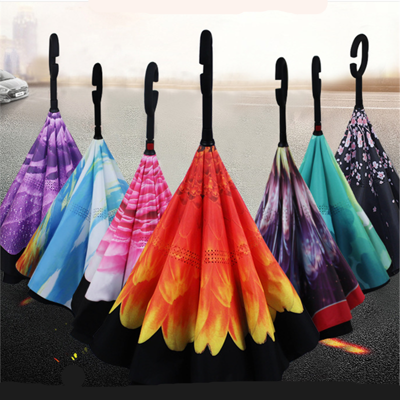 Double Layer Anti UV Self Stand Parapluie Colorful Windproof Reverse  Folding Umbrella Man Women Sun Rain Car Inverted Umbrellas| | - AliExpress