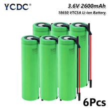 Nouveau 1-10 pièces US18650VTC5A 3.6 v 2600 mah 18650 batterie au Lithium batterie Rechargeable 35A décharge avec des fils de bricolage batteries