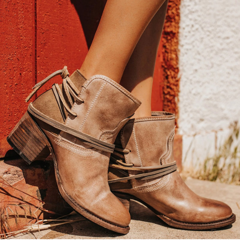 New Women PU//Suede Ankle Boots Side Zipper Med Block Heel Casual Shoes Size 5-8