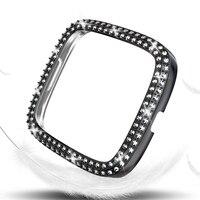 Funda de diamante PC de dos filas para Fitbit Sense Versa 3 2 1/Lite, carcasa protectora, Marco ostentoso