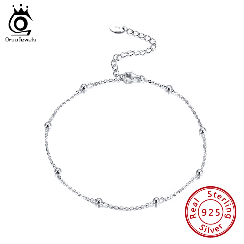 ORSA JEWELS Women Sterling Silver Anklet Summer Vacation Jewelry 92.5% Silver Ball Beads Ankle Chain S925 Accessories SA05