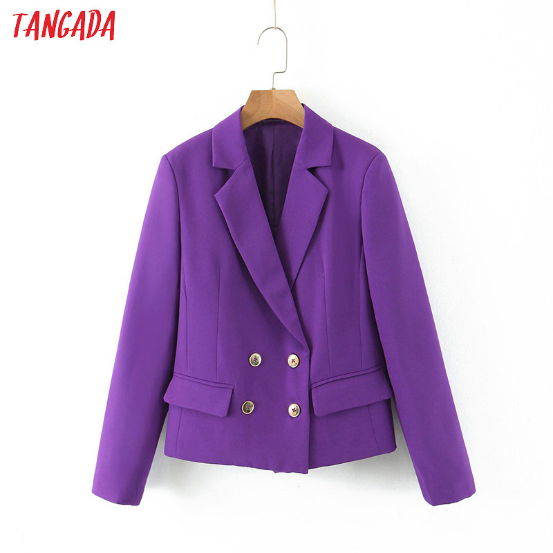 Tangada Women Dark Purple Blazer Female Long Sleeve Elegant Jacket Ladies Work Wear Blazer Formal Suits SL214