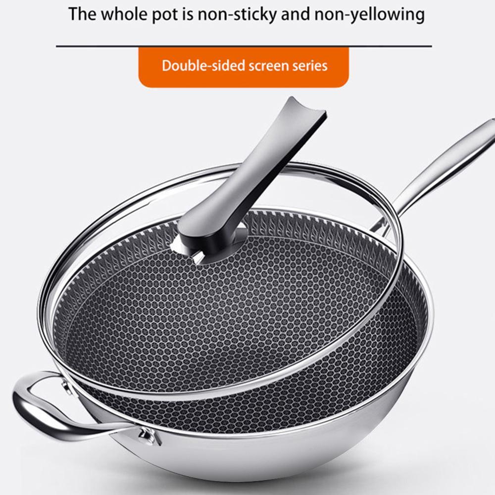 Poêle antiadhésive Wok en acier inoxydable, poêle à frire avec couvercle en verre, poêle à frire en nid d'abeille, ustensiles de cuisine polyvalents
