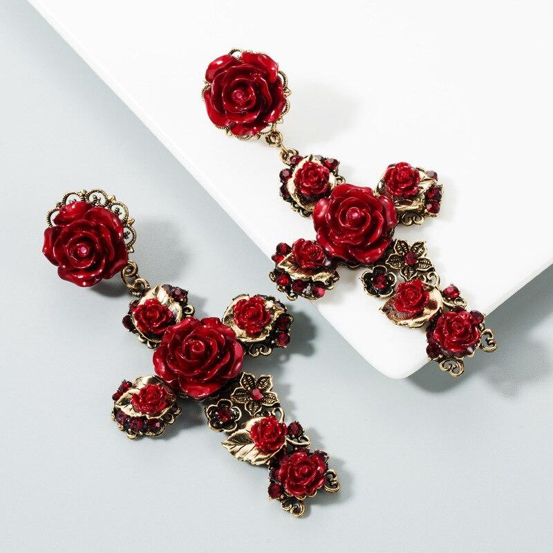 KMVEXO Baroque Vintage Gold Cross Earrings for Women Girls Enamel Rose Flowers Earrings Brincos Fashion Statement Jewelry 2020