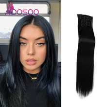 Hair Synthetic-Hair-Extension Long Straight 16-Clip Wig AOOSOO High-Temperature-Fiber