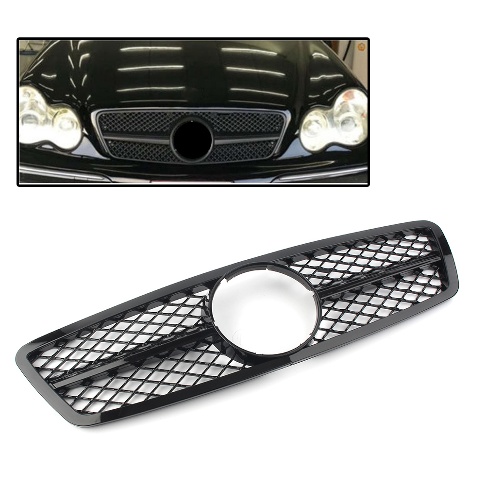 Car Front Bumper Grille AMG SLS Style Grill For Mercedes Benz C Class W203 C280 C320 C240 C200 2000 2006 Sedan Gloss Black|Racing Grills| |  - title=