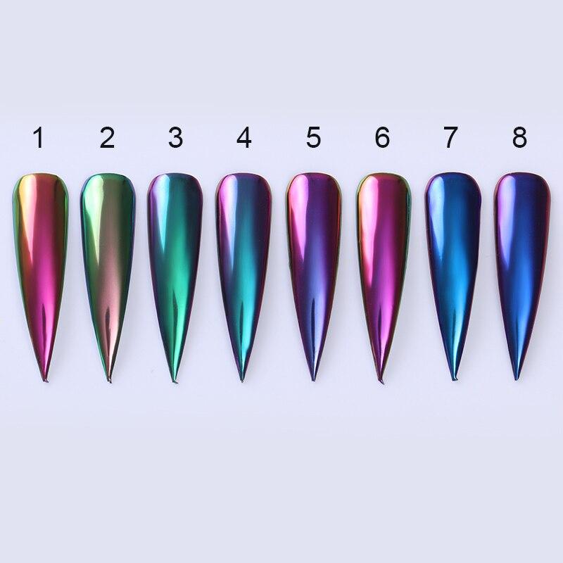Image 2 - Espejo camaleónico polvo brillante efecto metálico colores pigmento decoración de uñas polvo negro Base necesaria-in Brillantina de uñas from Belleza y salud on AliExpress