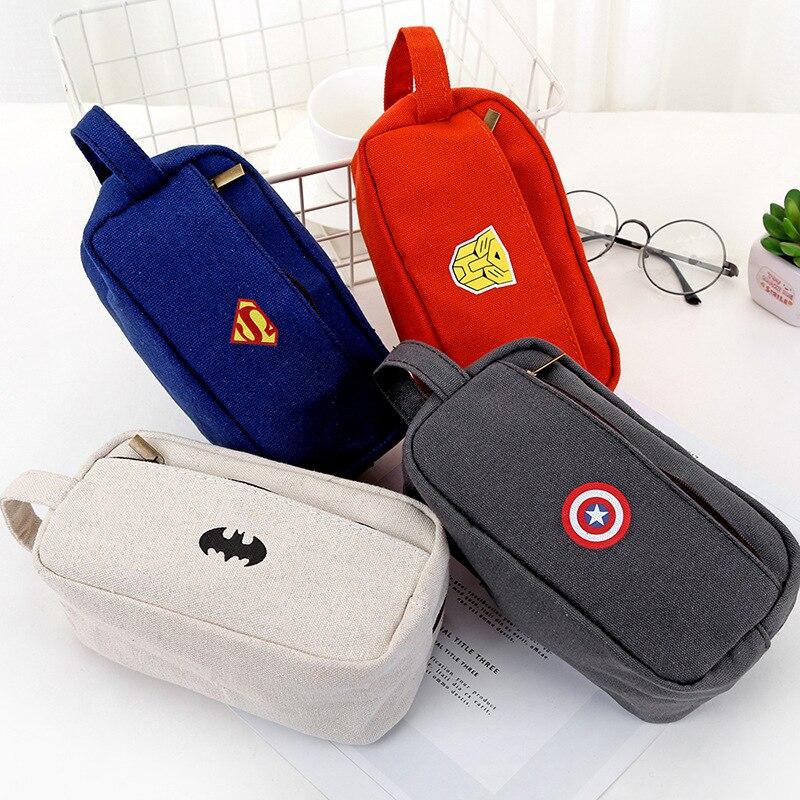 Cute Superhero Canvas Pencil Case Creative Kawaii Large Capacity Side Open Zipper Pencil Bag Office School Supplies Stationery