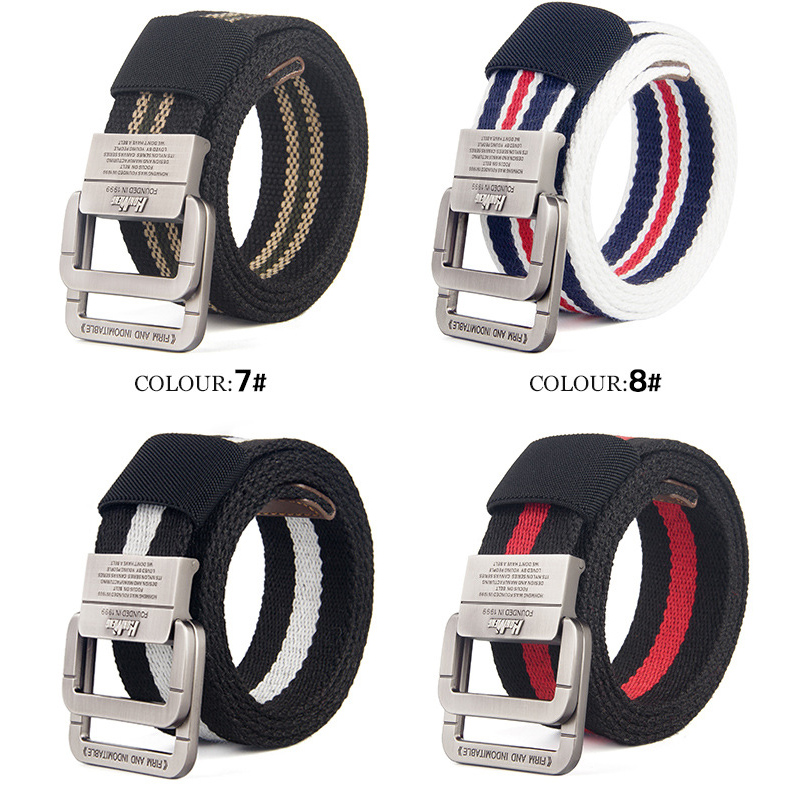 Fashion Brand Men Casual Canvas Stripe Belt Knitted Mens Metal Double Buckle Camouflage Belt Jeans Belts for Men Black Blue Red(China)