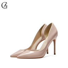 Купить с кэшбэком GOXEOU 2019 Women shoes 6cm High Heels Sexy Pointed Toe Slip-on Wedding Office Patent Leather Handmade Free Shiping plus size46