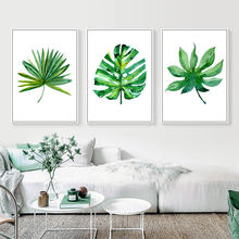 Green Tropical plants Palm Leaves Nordic Canvas Wall Art Minimalist Posters and Prints Wall Pictures Living Room Home Decoration(China)