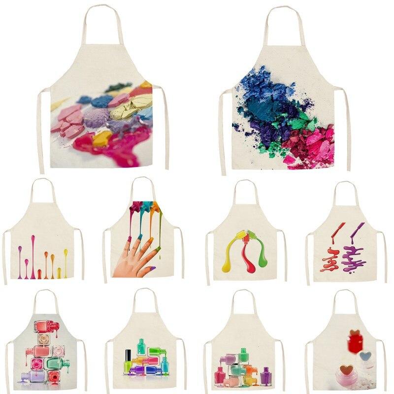 1Pcs Kitchen Apron Nail Polish Women Printed Sleeveless Cotton Linen Aprons For Men Women Home Cleaning Tools 55*68cm
