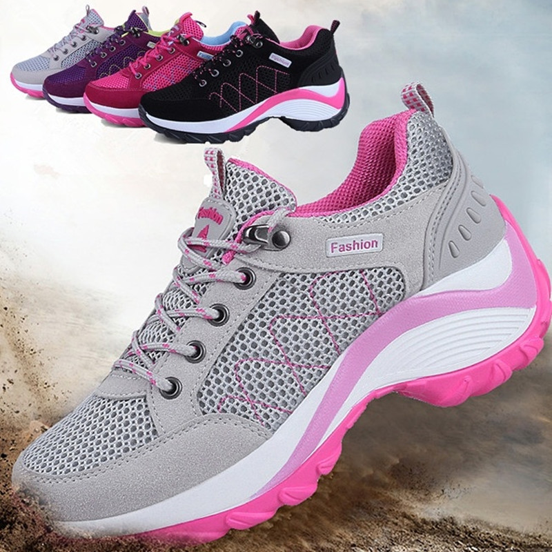 Fashion Casual Ladies Mesh Breathable Soft Soles Increased Belt Sports Fitness Hiking Shoes