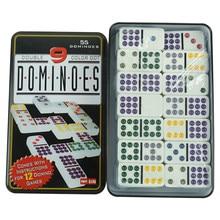 Double 9 points colorés dominos blancs avec étui en étain, bon marché, vente en gros