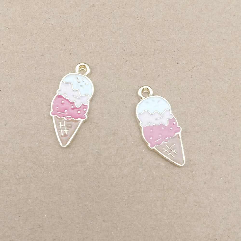 10 adet emaye dondurma charm takı yapımı için ve işçiliği moda küpe kolye bilezik kolye charms