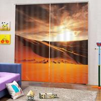 Luxury Stereoscopic Blackout Window Curtain Living Room yellow Sunset desert curtains Blackout Drapes Decor(left and right side)