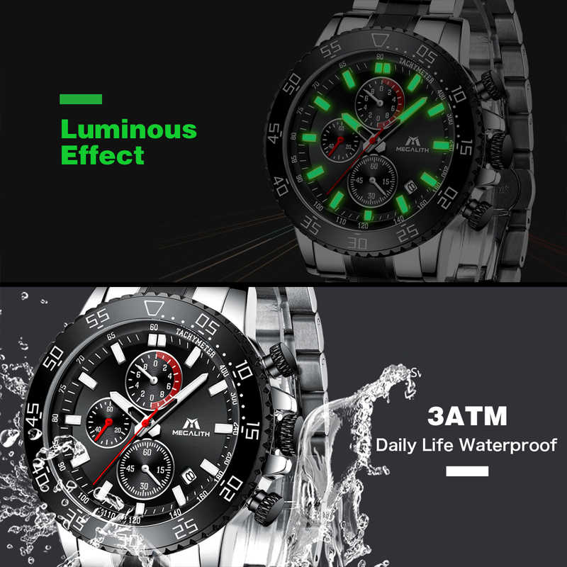 MEGALITH Military zegarki mężczyźni pasek ze stali nierdzewnej wodoodporny zegarek kwarcowy chronograf zegar mężczyzna mody sportów zegarek 8087