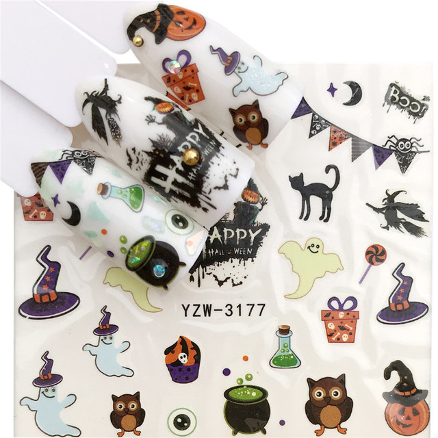 Фото наклейки для ногтей morixi на хэллоуин тыква животные паук кленовые
