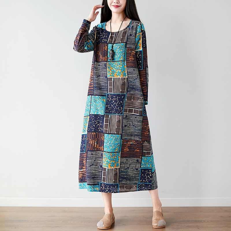 長袖コットンリネンヴィンテージ花プラスサイズの女性春秋のドレスエレガントな服 2019 女性のドレス