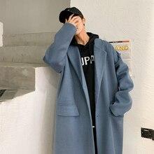 Зимние мужские однотонные кашемировые длинные шерстяные тренчи, пальто в стиле милитари, зимние куртки, одежда с хлопковой подкладкой M-2XL