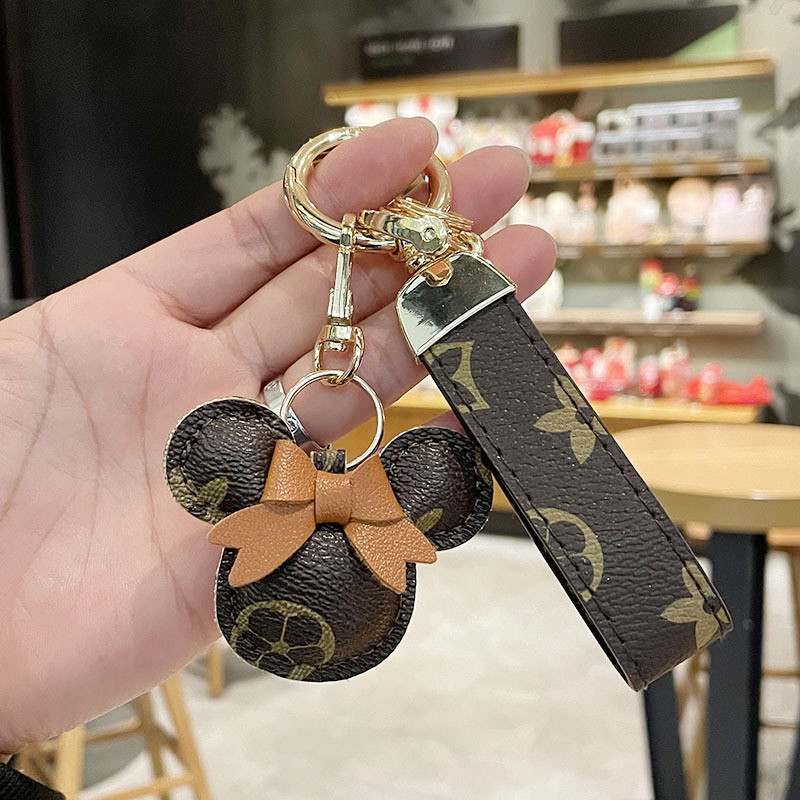 New Creative Cartoon Style Leather Key Chain Ladies Light Luxury Bag Pendant Cute Car Key Chain Home Mini Ornaments Decorations