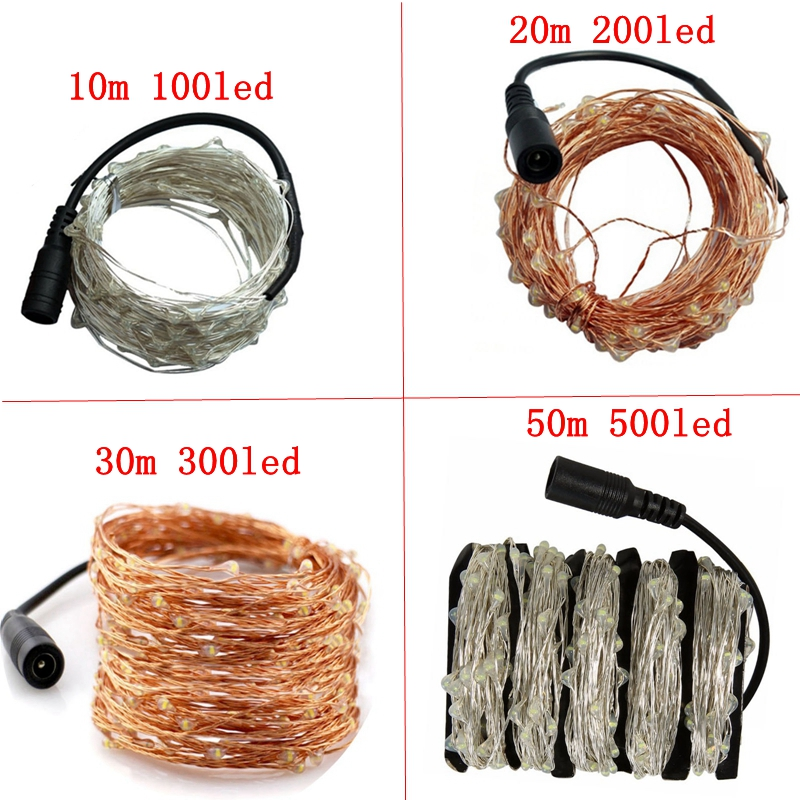 Image 3 - 10m 20m 30m 50m 100m copper/silver wire Christmas decoration waterproof garland lamps+24 key RF remote control and power adapter-in Holiday Lighting from Lights & Lighting on