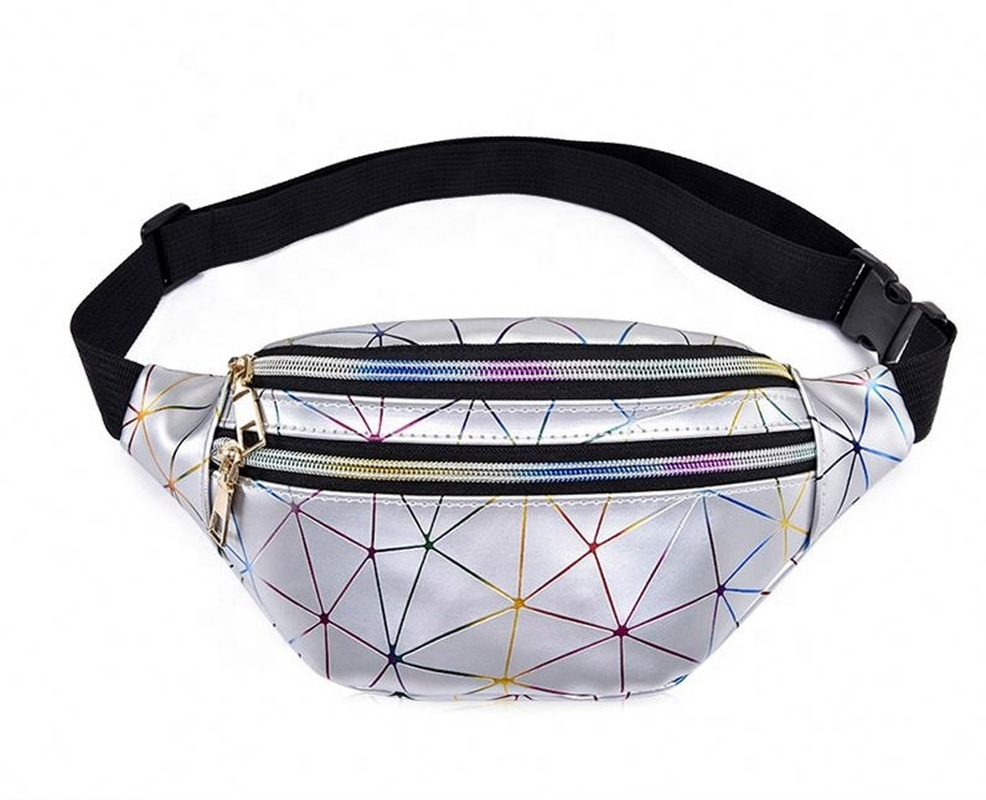 Holographic Waist Bags Women Silver Pink Fanny Pack  Belt  Black Geometric  Laser Chest Phone