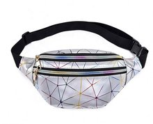 Holographic Waist Bags Women Silver Pink Fanny Pack Belt Black Geometric Laser Chest Phone()
