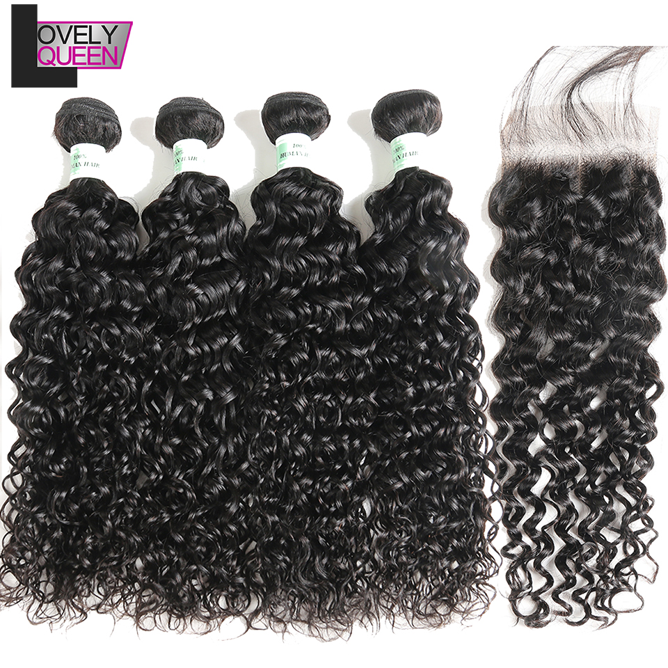 Lovely Queen Hair Brazilian Water Wave 4 Bundles With Closure Human Hair Extensions Non Remy Grade