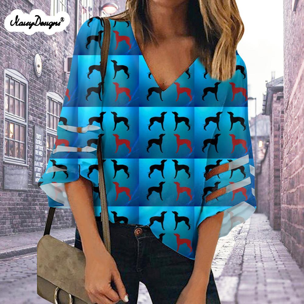 Noisydesigns womens topos e blusas blusas 2020 verano greyhound cão imprime mais tamanho xxl dropshipping frete grátis personalizado