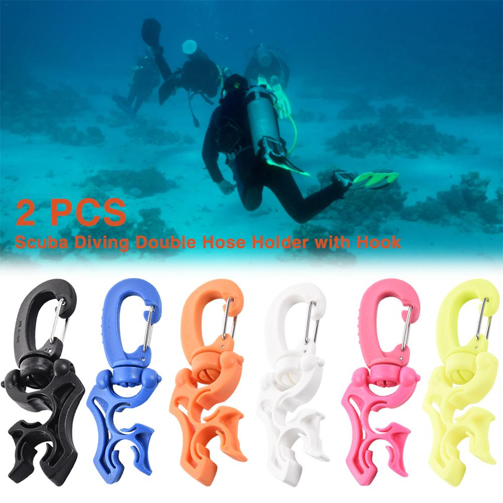 2 PCS Outdoor Scuba Diving Silicone Double BCD Hose Holder With Rotation And Folds Clip Loop Hook Equipment 100 X 35mm