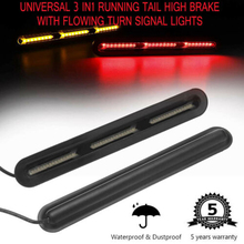 1 Pair 120LED Abmer +Red Car Stop Tail Light Fish Bone Style Flowing Turn Strip Signal Universal Waterproof