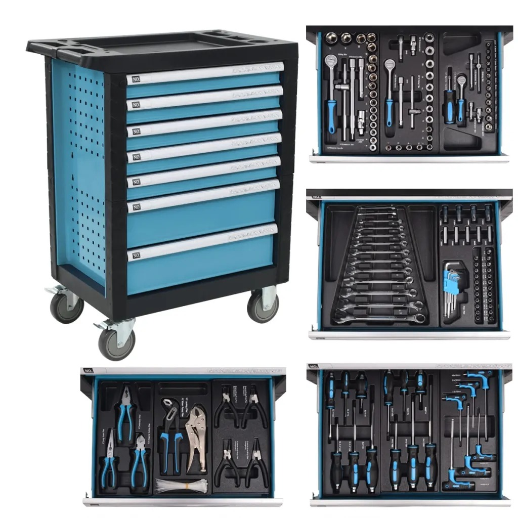 VidaXL Workshop Tool Trolley With 270 Tools Steel Blue 142367