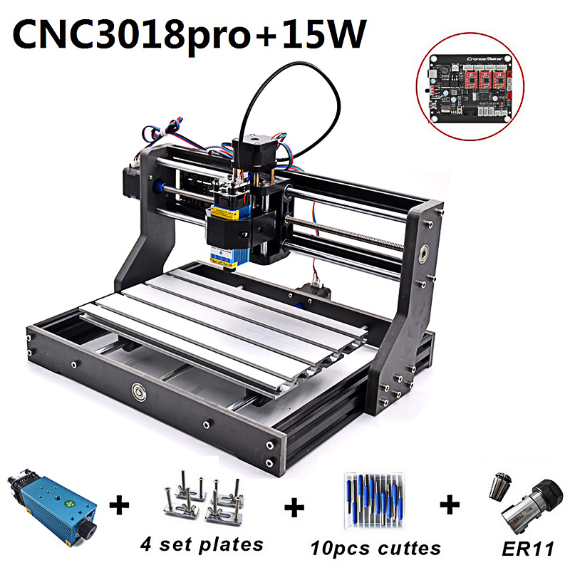 15W CNC Engraving Machine 3018 Pro Laser Head Wood Router 500mw 2500mw 5500mw PCB Milling DIY Carving Marking Machine Drill Bit