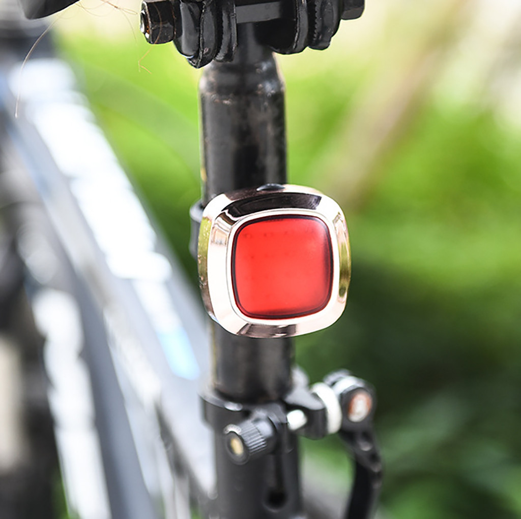 1X USB Rechargeable Bike Rear Tail Light LED Bicycle Warning Safety Smart Lamp