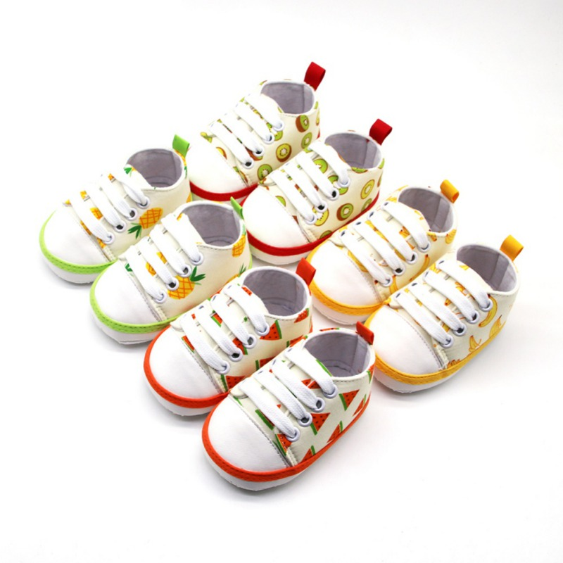Girls Shoes Canvas Baby Boy Shoes Fruit Print Anti-Slip Toddler Shoes Soft Soled Infant First Walkers