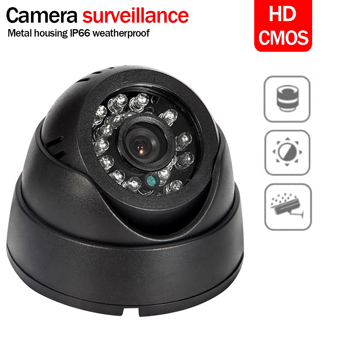 1080P HD IP Camera 3.6mm Wide Angle Dome Camera Vandal Proof Waterproof IR LED Indoor Outdoor Network IP Camera image