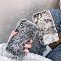 Fundas-아이폰용 패션 귀여운 플러시 핸드폰 케이스, 아이폰 12 11 13 프로 맥스 X Xs 8 7 6 6S 플러스 5S 4 4S SE 2020, 따뜻한 모피 다이아몬드 후면 커버